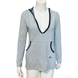 ROXY | Long Sleeve Hooded Tee Striped Pockets